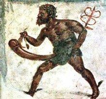 Priapus in the form of Mercury; fresco from Pompeii