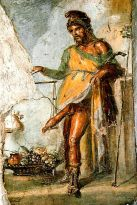 Priapus, Roman god of fertility; fresco from Pompeii