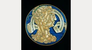 Francesco Urbini, Testa di Cazzo maiolica dish, 1536